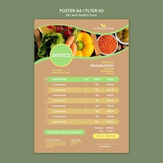 Cartaz de bio e comida saudável