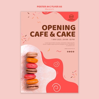 Cartaz de café e bolo de abertura