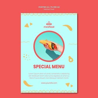 Cartaz de comida mexicana com foto