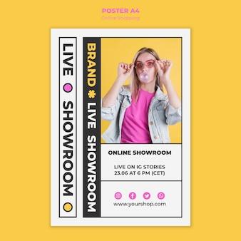 Cartaz de compras on-line de verão com foto