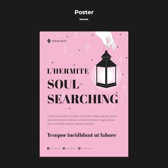 Cartaz de conceito esotérico de busca de alma