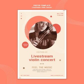 Cartaz de concerto de violino com transmissão ao vivo