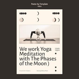 Cartaz de design incolor de prática de ioga