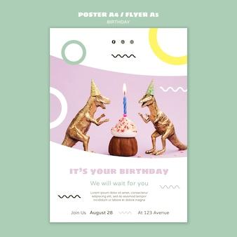 Cartaz de feliz aniversário com dinossauros