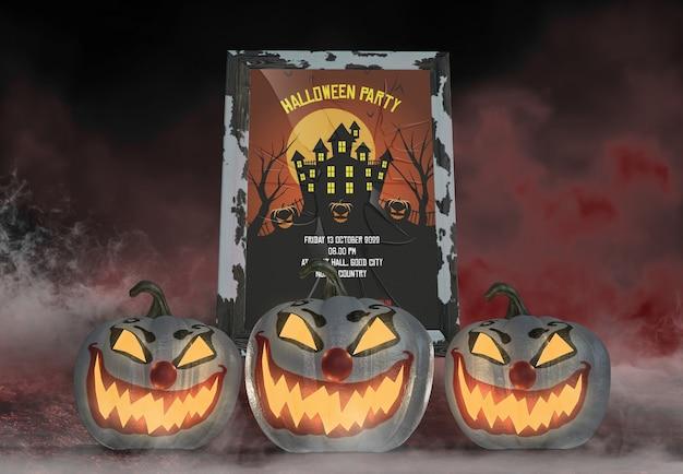 Cartaz de festa de halloween de casa abandonada e palhaço esculpidas abóboras
