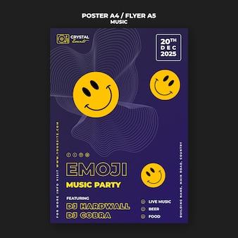 Cartaz de festa musical emoji e design de modelo de folheto