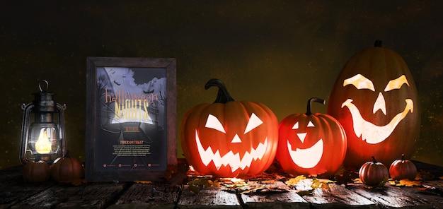 Cartaz de filme de terror com abóboras assustadoras