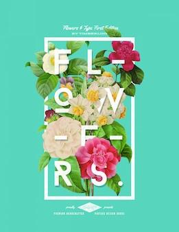 Cartaz de flor estilo mão desenhada