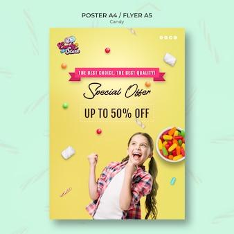 Cartaz de loja de doces de oferta especial