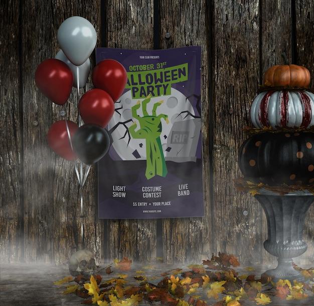 Cartaz de mão de zumbi de festa de halloween com balões