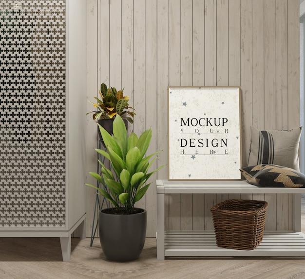 Cartaz de maquete com decoração e plantador