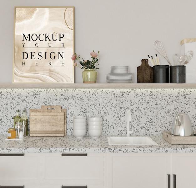 Cartaz de maquete em design de cozinha moderna