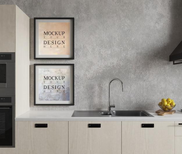 Cartaz de maquete na cozinha moderna, com design elegante