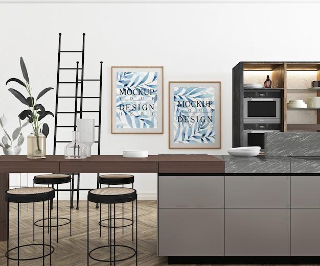 Cartaz de maquete na moderna cozinha aberta