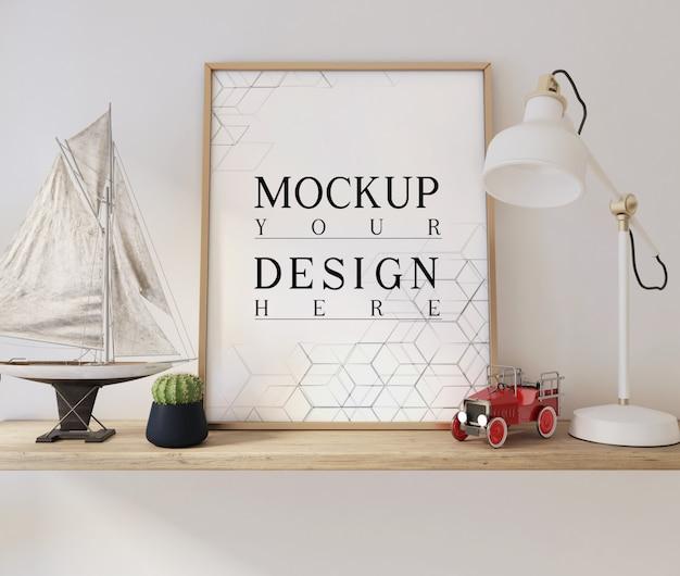 Cartaz de maquete na moderna sala de estar branca com decorações
