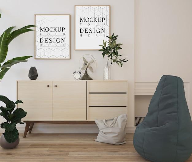Cartaz de maquete na moderna sala de estar branca com pufe e credenza