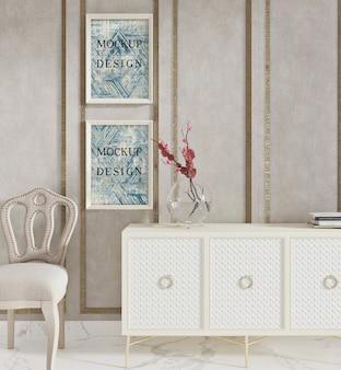 Cartaz de maquete na moderna sala de estar com armário e cadeira