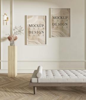Cartaz de maquete na moderna sala de estar com bancada