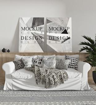 Cartaz de maquete na moderna sala de estar com sofá