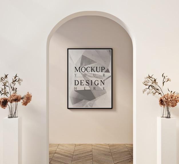 Cartaz de maquete na moderna sala de estar contemporânea