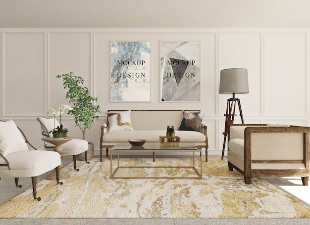 Cartaz de maquete na sala de estar clássica moderna com sofá