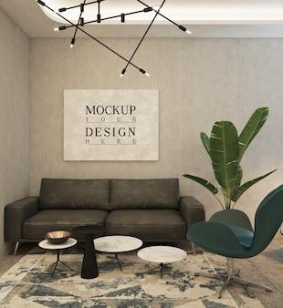 Cartaz de maquete no escritório particular moderno com sofá e cadeira