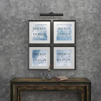 Cartaz de maquete no interior com mesa de console