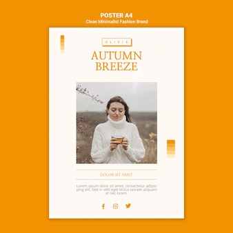 Cartaz de marca de moda minimalista de outono