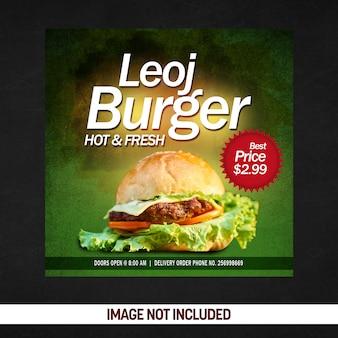 Cartaz de mídia social quente e fresco de hambúrguer