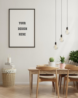 Cartaz de mock up em sala de jantar moderna