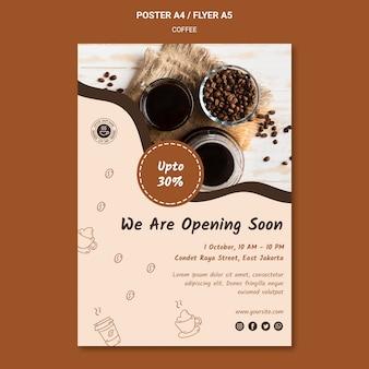 Cartaz de modelo de anúncio de cafeteria