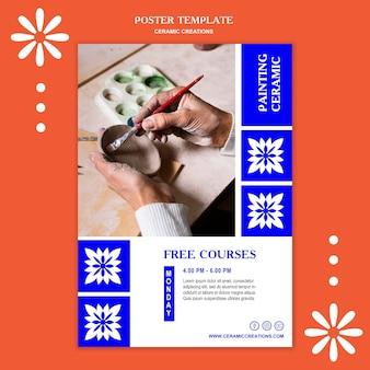 Cartaz de modelo de anúncio de criações em cerâmica