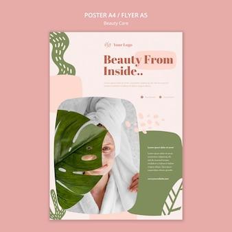 Cartaz de modelo de anúncio de cuidados com a beleza