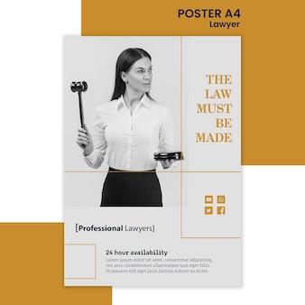 Cartaz de modelo de anúncio de escritório de advocacia