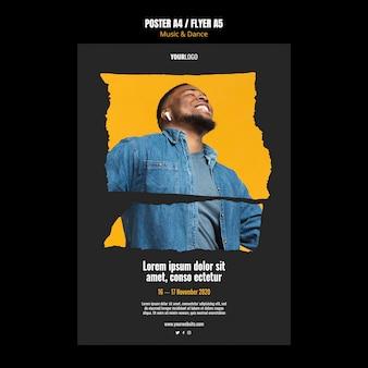 Cartaz de modelo de anúncio de evento de música e dança