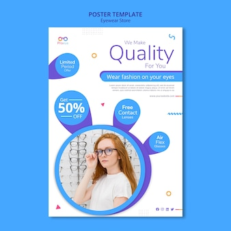 Cartaz de modelo de anúncio de loja de óculos