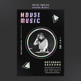 Cartaz de modelo de anúncio de música house