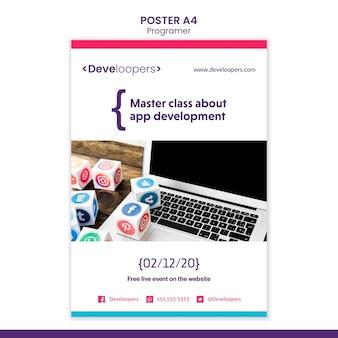Cartaz de modelo de anúncio de programador