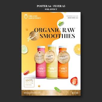 Cartaz de modelo de anúncio de smoothies orgânicos