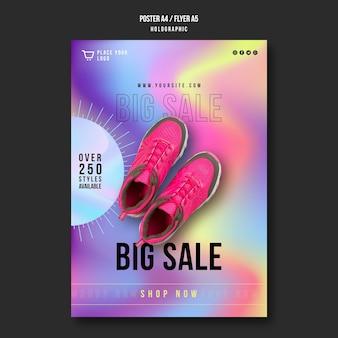 Cartaz de modelo de anúncio de venda de tênis