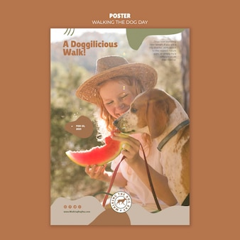 Cartaz de modelo de anúncio para passear com o cachorro