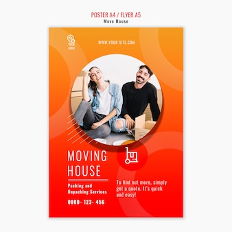 Cartaz de modelo de casa em movimento