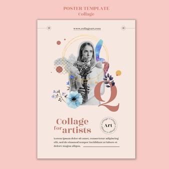 Cartaz de modelo de colagem para artistas