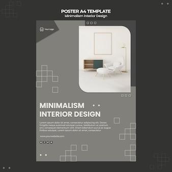 Cartaz de modelo de design de interiores minimalista