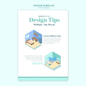 Cartaz de modelo de design de interiores