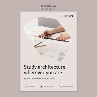 Cartaz de modelo de escola de design de moda