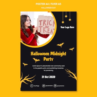 Cartaz de modelo de festa de halloween