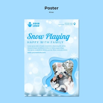 Cartaz de modelo de inverno para a família