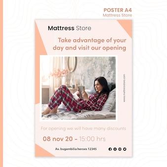 Cartaz de modelo de loja de colchões