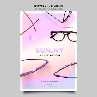 Cartaz de modelo de loja de óculos de sol